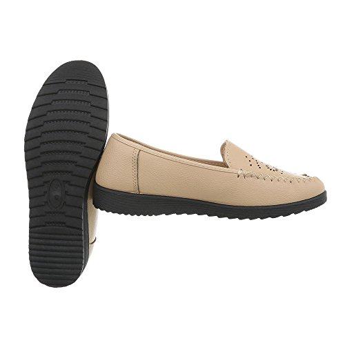 Damen Schuhe Mokassins Slipper Modell Nr.2Beige