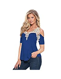 Lace Stitching Shirts Changeshopping Women Ladies Regular Tops Short Sleeve Blouse