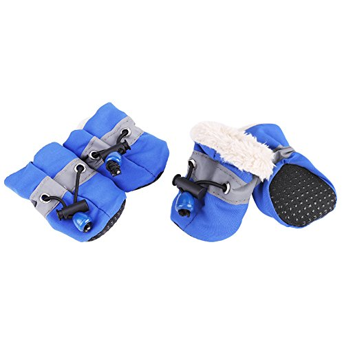 Zerone Dog Pet Shoes, Waterproof Paw Protectors Dog Boots Pet Antiskid Shoes Winter Warm Skidproof Shoes Soft Cotton Padded 4Pcs(5-Blue)