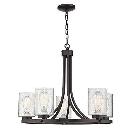5-Light Wagon Wheel Chandelier, Beionxii 26 Farmhouse Contemporary Large Pendant Chandelier Lighting Fixture Oil Rubbed Bronze Finish with Clear Seeded Glass