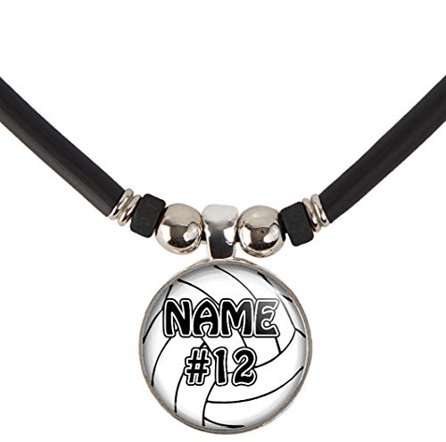SpotlightJewels Customized Volleyball Necklace with Your Name and Number- Perfect for Volleyball Players, Volleyball moms, Volleyball Teams and Coaches-Black