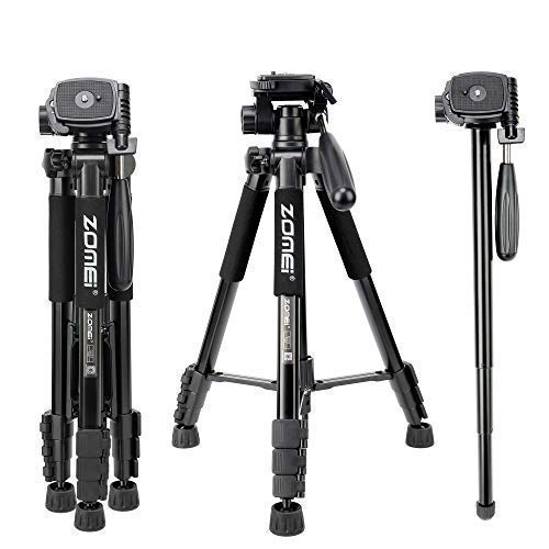 ZOMEI Q222 Lightweight Aluminum Tripod Monopod Portable Travel Camera Stand with 3-Way Pan Head and Carry Bag for Canon Nikon Sony DSLR