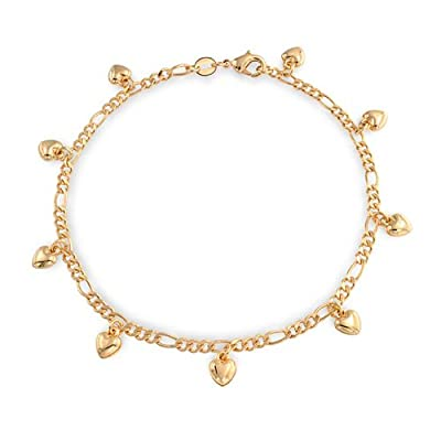 Bling Jewelry Gold Filled Figaro Chain Heart Charm Bracelet Anklet 9 Inch on sale