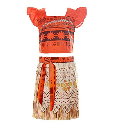 MOREMOO Little Girls Moana Costume Two-Piece Halloween Dress up