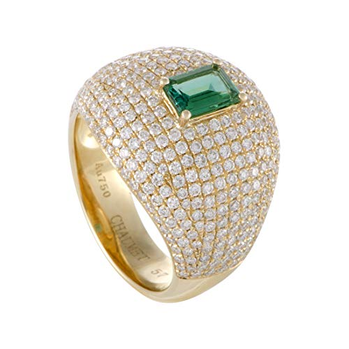 Chaumet 18K Yellow Gold Full Diamond Pave and Emerald Bombe Ring ()