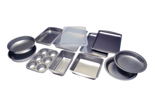 EZ Baker Uncoated, Tin Plated Steel 12-Piece Bakeware Set - Natural Baking Surface that Heats Evenly for Perfect Baking Results, Set Includes all Necessary Pans