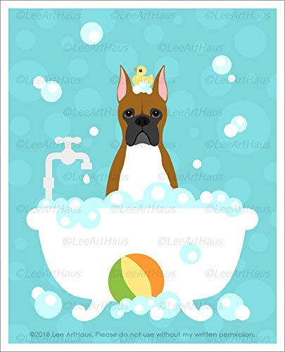458D - Brown Boxer Dog with Cropped Ears in Bubble Bath Bathtub UNFRAMED Wall Art Print by Lee ArtHaus