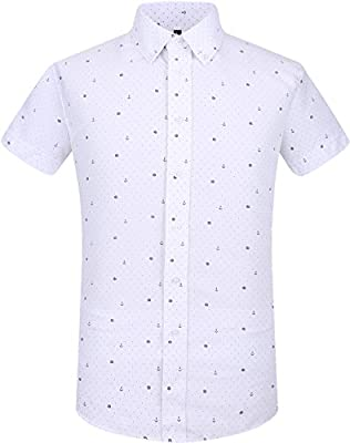 QIHUANG Sailor Elements Pattern Mens Casual Slim Fit Short Sleeve Dress Summer Shirts