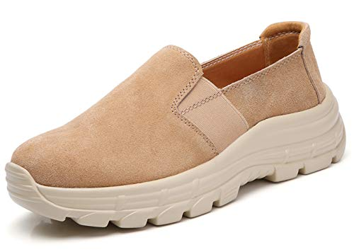 TSIODFO Leather Platform Shoes for Women Fashion Sneakers Biege Suede Leather Breathable Comfort Ladies Slip on Casual Loafers Shoe Size 6 (2019-beige-36) ()