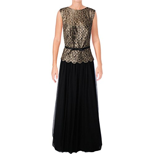 Tadashi Shoji Womens Laser Cut Faux Leather Formal Dress Black 12