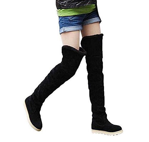 Naughtyangel Winter Alla Snow In Sopra Boots Caldo Donna Stivali Gli Moda Da Punta Ginocchio Scarpe Rotonda Camoscio Nere Al rr5dqw0WxA