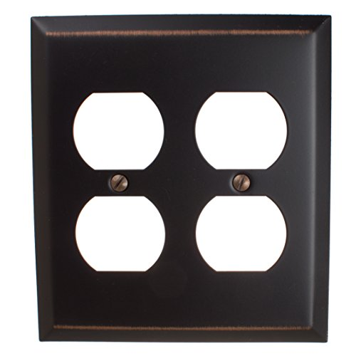 GlideRite Hardware Wall Plate Cover for Double Duplex Outlets – Steel 2-Gang Classic Square Beveled Receptacle for Kitchen, Bath or Living Room (Double Duplex, Oil Rubbed Bronze)