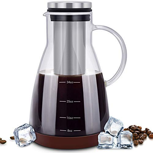 ESEOE Cold Iced 34oz Brewing Glass Carafe with Removable Stainless Steel Filter and Silicone Coaster Best Tea and Coffee Maker for Homemade, Pot