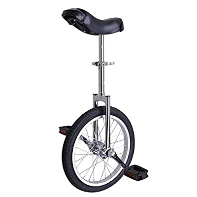 """16"""" Inch Mountain Bike Wheel Frame Unicycle Cycling Chrome w/ Stand Comfortable Release Saddle Seat for Children Adult Balance Exercise Training Heavy Duty"""