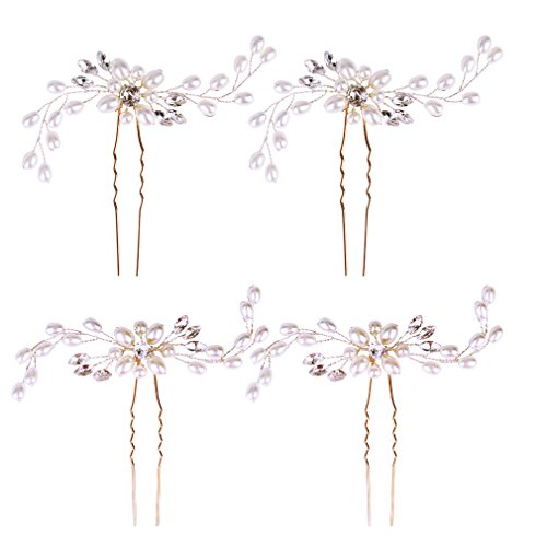 Jaciya 4 Pack Wedding Bridal Crystal Pearl Hair Pins Decorated Hairpins for Women and Girls (Silver)