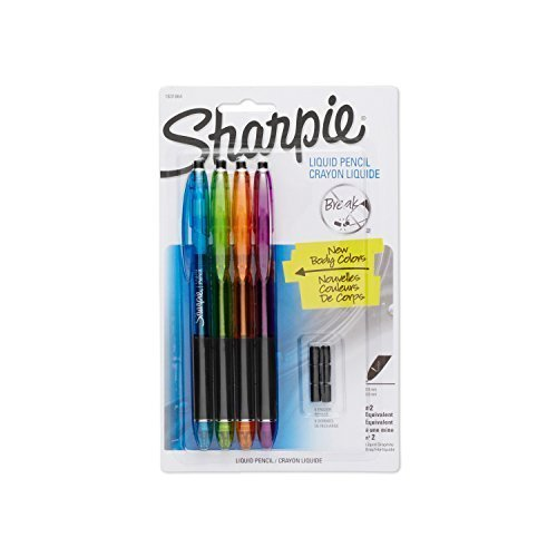 Sharpie Liquid Pencils with 6 Eraser Refills, 0.5mm, Fashion Colors, 4-Pack (1801864) Case of 48 by Sharpie