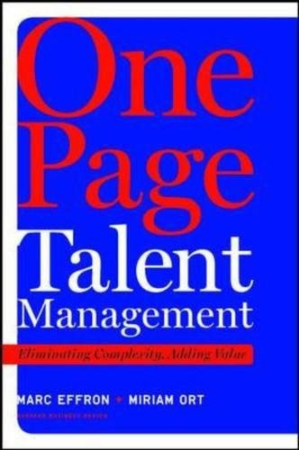 One Page Talent Management: Eliminating Complexity, Adding Value (Page Kit Rose)