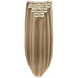 """Clip in Hair Extensions Triple Weft 20"""" Straight Highlighted Heat-Resisting Fiber Hairpiece #P18/22 Light Ash Brown mix Medium Blonde 7Pcs 140g"""