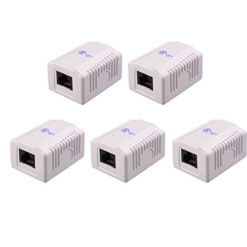 [UL Listed] Cable Matters (5 Pack) Cat6 RJ45 Surface Mount Box - 1 Port in White (Cat6 Jack Mount Surface)