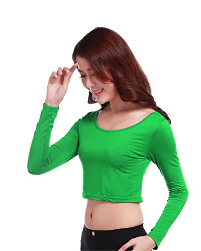 GladThink la mujer musulmana camiseta de manga larga de media longitud y Verde