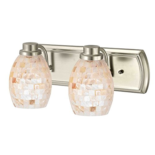 2-Light Bathroom Light with Mosaic Glass in Satin Nickel by Design Classics