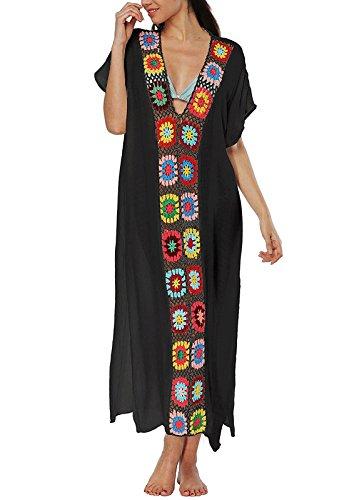 Women's Colorful Cotton Embroidered Turkish Kaftans Beachwear Bikini Cover up Dress (B-Black)