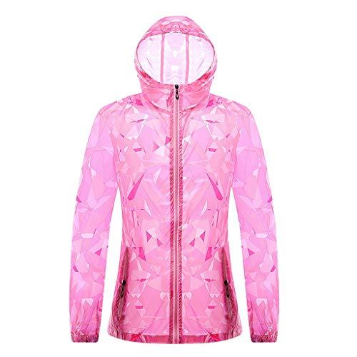Sunyastor Women Summer Print Long Sleeve Sunscreen Zipper Hooded Sweatshirt Pullover Tops UV Protector Casual Coat Blouse Pink ()