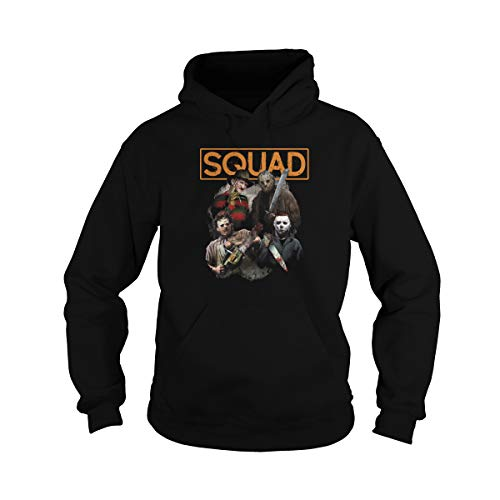 Zinko Unisex Freddy Jason Michael Myers and Leatherface Squad Halloween Horror Hoodie (L, Black)