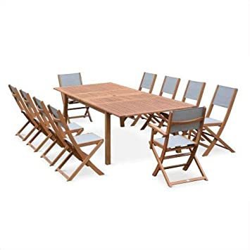 Salon de Jardin en Bois Extensible - Almeria Table 200/250/300cm ...