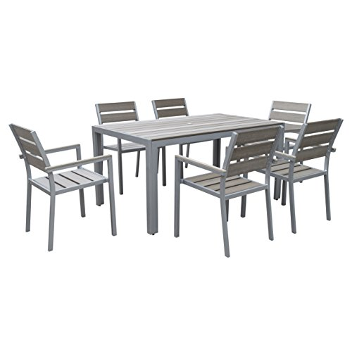 CorLiving PJR-572-Z2 Gallant 7 Piece Outdoor Dining Set, Sun Bleached Grey For Sale