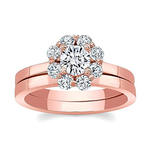 luxrygold 0.50Ctw Round Cut Clear D/VVS1 Diamonds 14K Rose Gold Plated Halo Bridal Wedding Ring Set 14k Vvs1 Ring