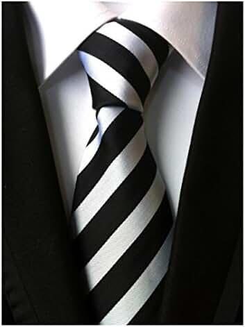 Allbebe Men's Classic Striped Black And White Woven Silk Tie Microfiber Necktie
