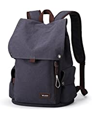 Muzee Canvas Backpack for School Travel Rucksack Fits up to 15 inch Laptop