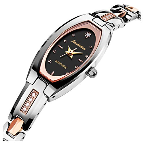 JSDUN Ladies Elegant Square Oval Dial Slim Bracelet Wrist Watches, Luxury Brand Silver/Rose Gold/Gold/Black Tungsten Steel Dress Watches for Mother's Day Wife, Waterproof Quartz Beauty Watches