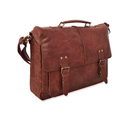 V-élan Men's Vintage Leather Briefcase with Laptop Sleeve 15.25