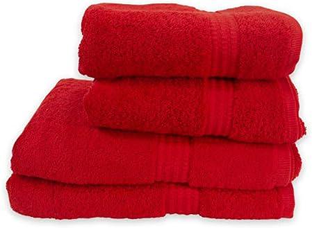 PimpamTex – Juego de Toallas Premium 700 Gramos de Secado Rápido para Baño, 100% Algodón, Pack Toallas de Baño + Toallas de Mano – (Rojo, 2 de 70x140 cm + 2 de 50x100 cm): Amazon.es: Hogar