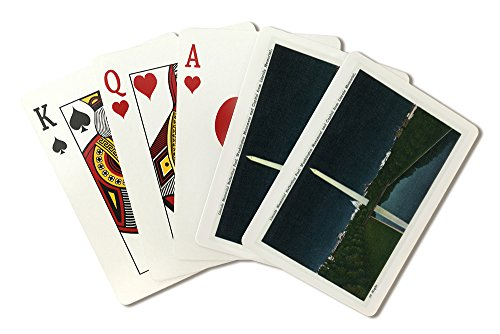 - Washington, DC - Lincoln Memorial View of Reflecting Pool, WA Monument, Capitol at Night (Playing Card Deck - 52 Card Poker Size with Jokers)