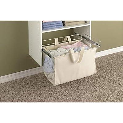 Easy Track Sliding Canvas Hamper Closet Storage, Off White: Home & Kitchen