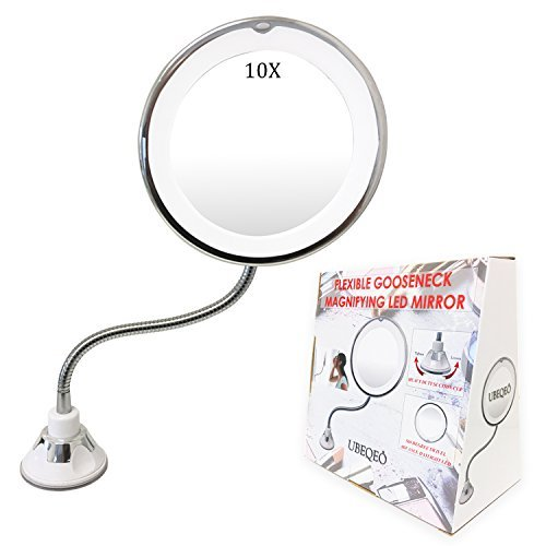 UBEQEÔ 10X Flexible Magnifying Makeup Mirror with Light | Adjustable Gooseneck Suction Cup | The Bathroom Vanity with Lights has a Bright LEDs Perfect for Wall Mounted (10X ()