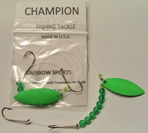Willow Leaf Blade - RS Champion 2 - GREEN GLITTER - Single blade Willow Leaf #4 Worm Harness Monofilament Rig