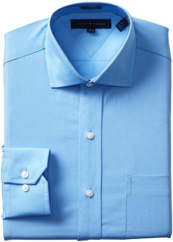 Tommy Hilfiger Men's Slim Fit Poplin Shirt, Blue, 17.5