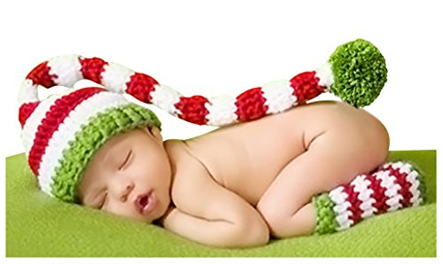 Bienvenu Baby Christmas Crochet Long Tail Pom-Pom Photo Prop Hat,Green Set (Hat Santa Baby)