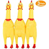 Screaming Chicken,Yellow Rubber Squaking Chicken Toy Novelty and Durable Rubber Chicken Perfect Gift for Kids and Dogs,Rubber Chickens Value 3 Pack