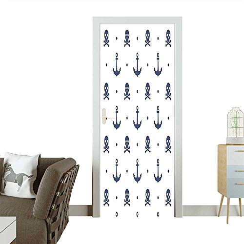 Decorative Door Decal Anchors and Skulls Crossed Bones Dots Pirate Horror Fear Seaman Illustration Stick The Picture on The doorW38.5 x H79 INCH