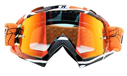 NENKI MX Goggles NK-1019 Motocross ATV Off Road Dirt Bike Goggles For Unisex Adult (Techline Orange,Iridium Red - To Shape According Face Frames
