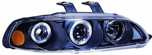 IPCW CWS-720B2 Honda Civic 1992 - 1995 Head Lamps, Projector With Rings & Corners Black   B005FW2PDI