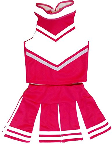 [Big Girls' Women Cheerleader Cheerleading Outfit Uniform Costume Cosplay (S/ 4-6, pink/White)] (Cheerleader Outfit For Girls)