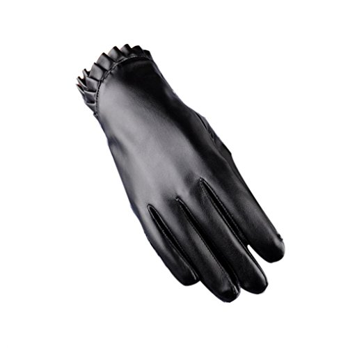 Besde Fashion Womens Girls Ladies Touch Winter Warm Imitation Leather Full refers To The Warm Glove for Women Gift (Black)