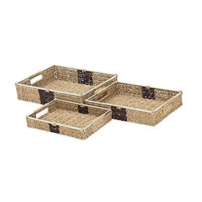 "Deco 79 41136 Sea Grass Storage Basket (Set of 3), 14""/16""/18""W - Makes a decorative piece for home and outdoor decor Measures 18. 75-Inch length by 23. 5-Inch height by 12-Inch width This product is Made in India - living-room-decor, living-room, baskets-storage - 41NU1J33myL. SS400  -"