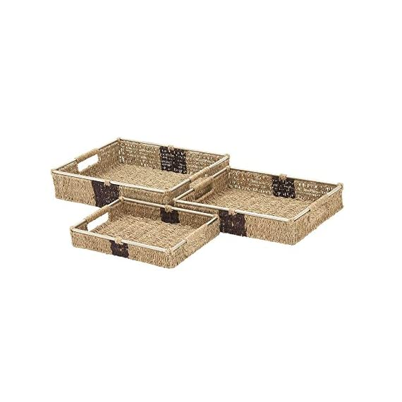 "Deco 79 41136 Sea Grass Storage Basket (Set of 3), 14""/16""/18""W - Makes a decorative piece for home and outdoor decor Measures 18. 75-Inch length by 23. 5-Inch height by 12-Inch width This product is Made in India - living-room-decor, living-room, baskets-storage - 41NU1J33myL. SS570  -"
